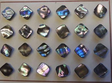 Perlmuttknopf mit Steg, viereckig, glatt, grau