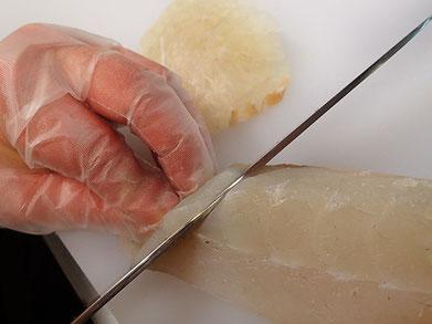 宅配寿司 ヒラスズキの切り付け 出前