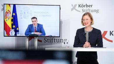 Der spanische Ministerpräsident Sánchez Pérez-Castejón spricht live aus Madrid mit Nora Müller, Leiterin des Hauptstadtbüros der Körber-Stiftung