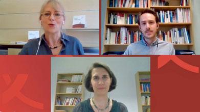 Doris Kreinhöfer, Tanja Kiziak und Adrián Carrasco Heiermann (v.l.) präsentieren die Studie »Auf ein Sterbenswort«