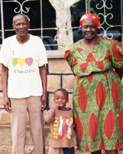 Ceiphers with his grandparents