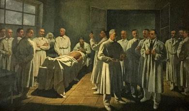 Scena raffigurante il Prof. Antonio Carle e la sua scuola. Dipinto realizzato da Gregorio Calvi di Bergolo nel 1937 per l'nnaugurazione del primo corso di Clinica Chirugica nella nuova sede Molinette, è conservato nell'Aula di Clinica Chirurgica.