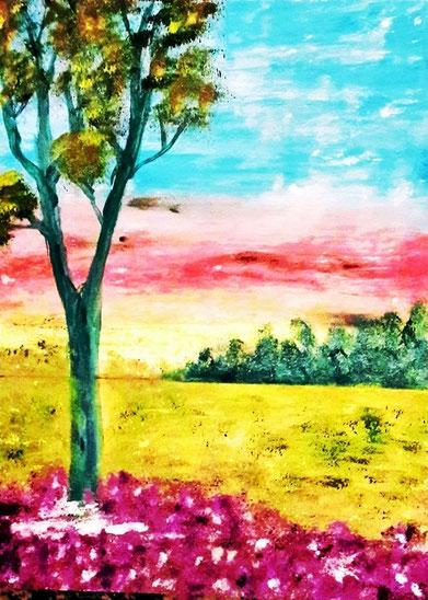 Feldlandschaft, Ölgemälde, Landschaftsbild, Sonnenuntergang, Baum, Wald, Feld, Blumen, Ölmalerei, Fine Art Painting
