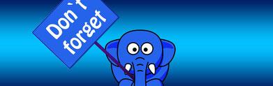 """Elefant mit einem """"don't forget"""" Schild"""