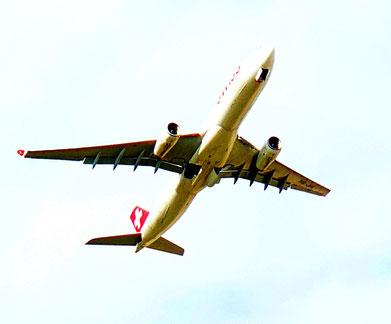Auf dem Bild ist ein Flugzeug der Swiss zu sehen.