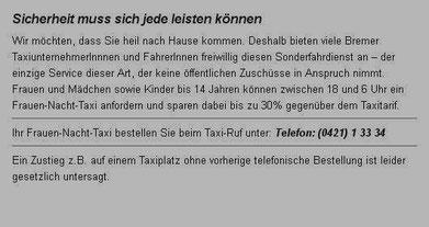Screenshot von der Homepage des Taxi-Ruf  Quelle:http://www.taxi-ruf-bremen.de/de/service/dienstleistungen/frauen-nacht-taxi/