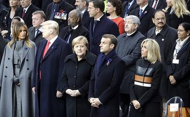 Staatsregierende gedenken an das Ende des Ersten Weltkriegs am 11.11.2018. Bild: CC license by http://en.kremlin.ru/ (letzter Zugriff: 19.01.2020, Angaben siehe unten).'