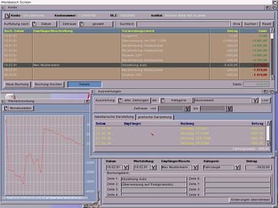 Der Screenshot zeigt das Kontenblatt mit geöffnetem Detailsfenster, Kontochart und Analysefenster.