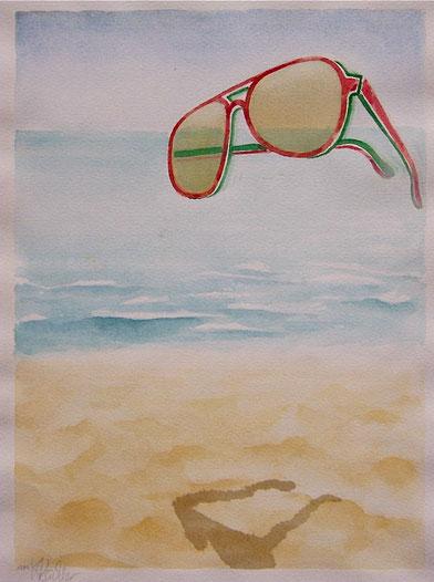 ÜBERFLIEGER, Aquarelle im 50x60cm Passepartout