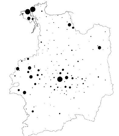 Répartition du patronyme RENAULT en Ille-et-Vilaine (JMR, 1985)
