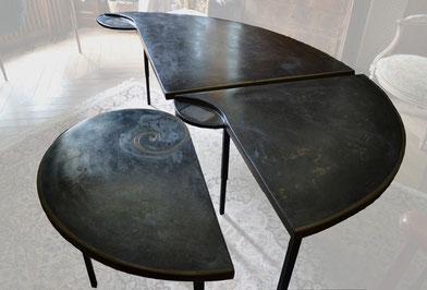 table sculpture résine modulable tancelin artiste