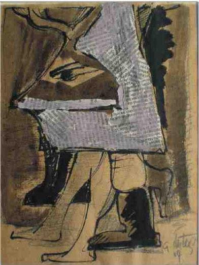 """""""Schreitende Maske II"""", 2004, Collage, Tusche, Bleistift, Tempera, 22 x 15 cm"""