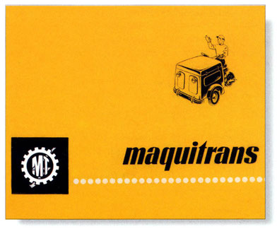 Imágen publicitaria de Maquitrans promocionando sus típicos tricilclos de reparto