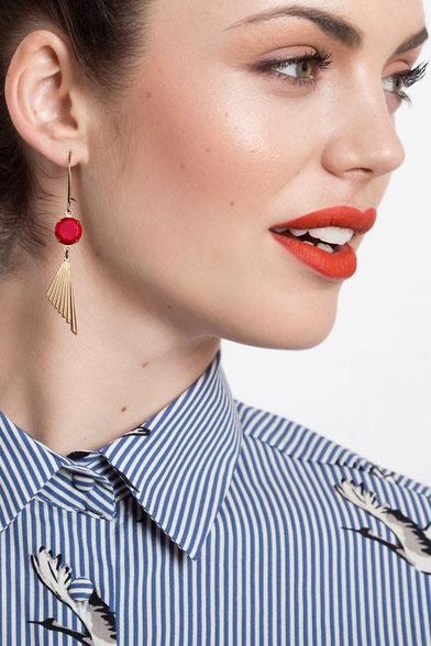 Art Deco Sandrine Devost vintage bijoux rouge