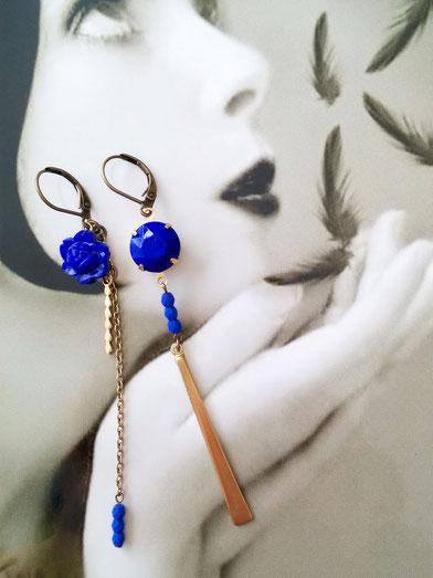 Sandrine Devost bijoux vintage asymétrique bleues