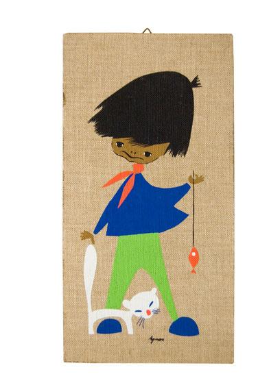 Agnes Jaklien Moerman Kinderbild Junge mit Katze