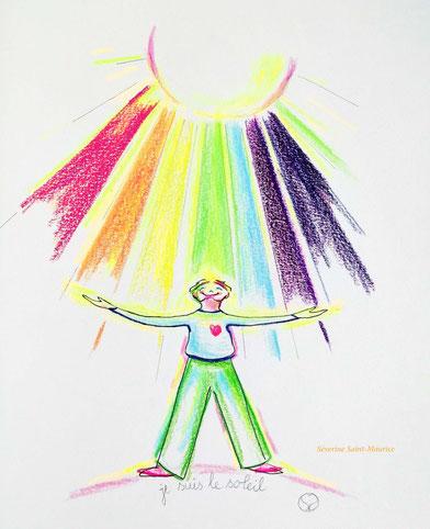 dessin. dessiner en conscience. lescerclesdelumiere.com. Tours 37000. Séverine Saint-Maurice. conscience. soleil. arc en ciel
