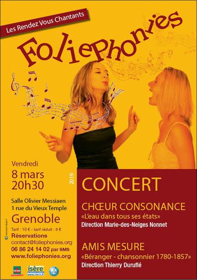 Concert du Choeur Consonance aux Rendez-vous chantants de Foliephonies - vendredi 8 mars 2019