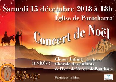 Concert de Noël à l'église de Pontcharra - Choeur Consonance - samedi 15 décembre 2018