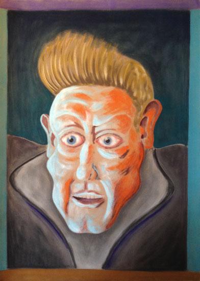 Wilde Geschichten in grünlich-orangenem Zwielicht, 50x70cm, Pastell auf Velourspapier, 2013