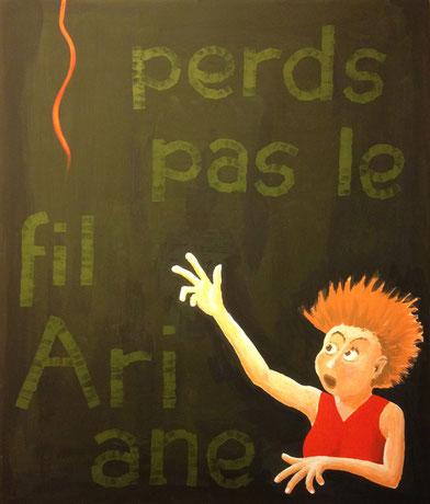 Perds pas le fil Ariane, 41x49cm, Gouache auf Papier, z.T. gestempelt, 2013