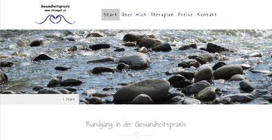 Hedaderbild Bach mit Steinen Gesundheitspraxis Chruegeli, unterstützt von Jungo-Grafik