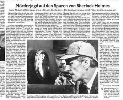 """Zeitungsartikel der Nürnberger Nachrichten vom 09.08.2007: """"Mörderjagd auf den Spuren von Sherlock Holmes""""- Quelle: Susanne Helmer / Nürnberger Nachrichten"""