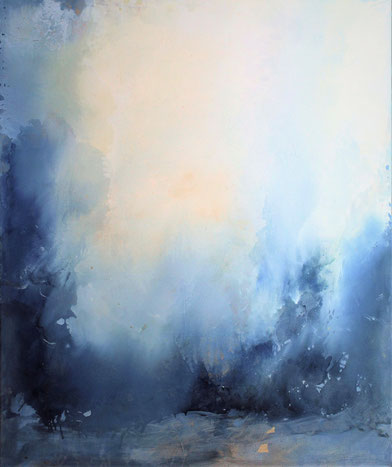Nevicata olio su tela e foglia oro cm 120 x 100