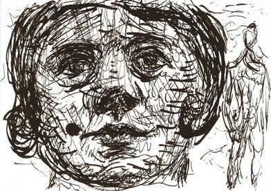 BILDNISSTUDIE W:  2009   Chinatusche auf  Papier  10 x 15 cm