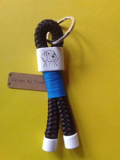 Schlüsselanhänger aus Tau, Schlüsselanhänger Kletterseil Hundemotiv, Beagle