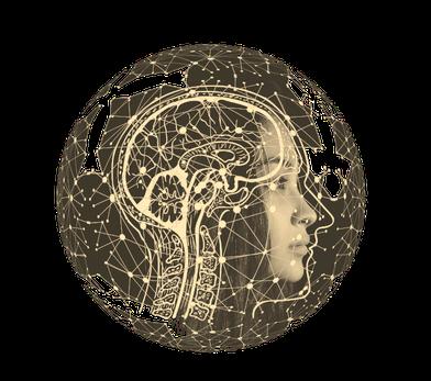 Gehirn und Frau in Sepia