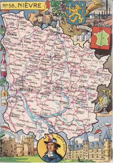 Recto d'une carte postale timbrée envoyée depuis la Nièvre