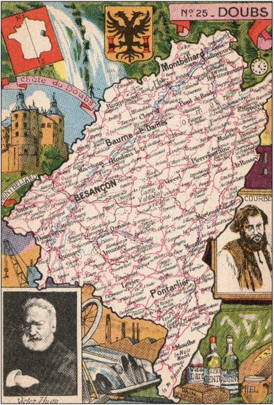 Recto d'une carte postale timbrée envoyée depuis le Doubs