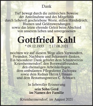 Bild: Todesanzeige Gottfried Kahl