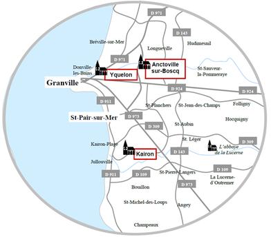 Arts sous les clochers carte des trois sites: église Saint-Pair, église Saint-Laurent et église Saint-Martin