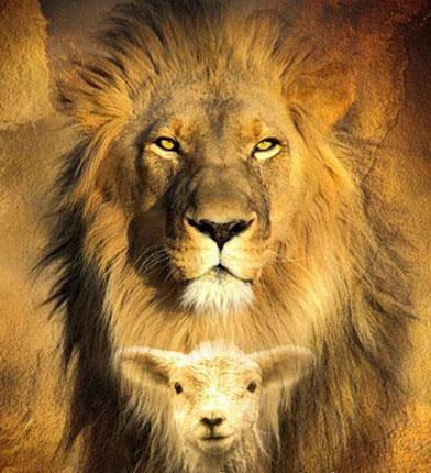 Stärke und Unschuld. Löwe und Lamm. Gott.