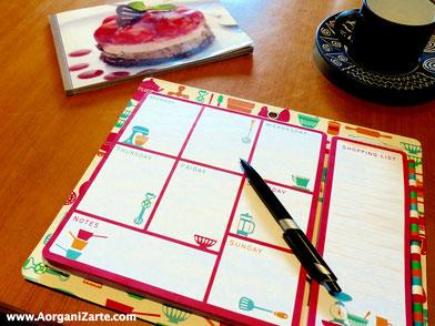 Planifica tus menús de la semana - AorganiZarte