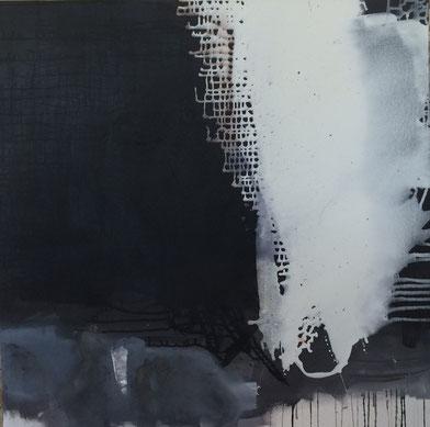 Bild: Fluss des Lebens: 120 x 120 cm, auf Leinwand, Acryl-Mischtechnik, mit Bitumen