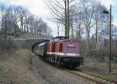 Lok der Baureihe 204 von Kemtau nach Burkhardtsdorf 1995 © tcz