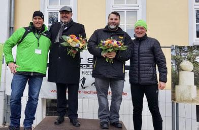 Fröbellauf 2019, v.l.n.r. Roberto Mehner (Cheforganisator Fröbellauf), Jörg Reichl (Bürgermeister Stadt Rudolstadt), Mike George (Bürgermeister Bad Blankenburg), Uwe Schmidt (Vorstandsvorsitzender Laufclub Rudolstadt)