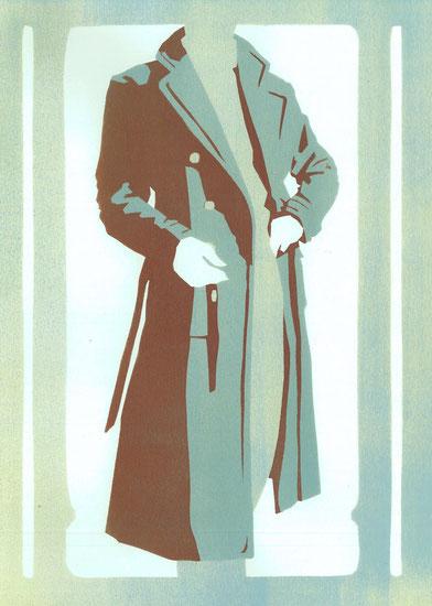 Mantelformen, Mantel Lexikon: Zeichnung eines Ulstercoats mit Beschriftung der Details