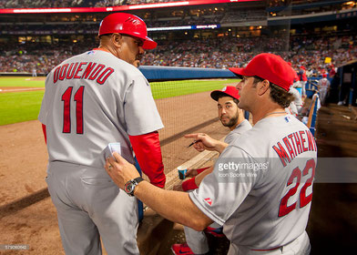 Nella foto Jose Oquendo a sx con Mike Matheny (Getty images)