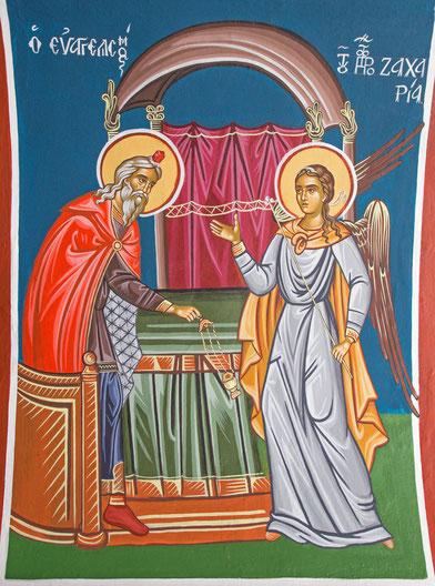 Der Engel erscheint Zacharias, Fresco in der griechisch-orthodoxen St.-John-Kirche in Jerusalem
