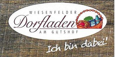 """Name und Logo: Beim Namen entschieden sich die meisten Teilnehmer einer Umfrage für """"Wiesenfelder Dorfladen am Gutshof"""", beim Logo erhielt ein Flechtkorb mit Lebensmitteln die größte Zustimmung. Ideen von Kim und Jana Peter. (Repro: Josef Riedmann)"""