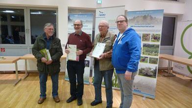 v.l.n.r. Paul Krum, Karl-Heinrich Löffler, Walter Dellnitz wurden vom Vorsitzender Markus Dietrich geehrt.