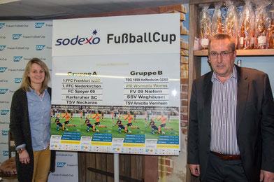 Losfee Susi Hartel und Unterstützer Georg Albrecht präsentieren die Gruppen des Sodexo FußballCups.