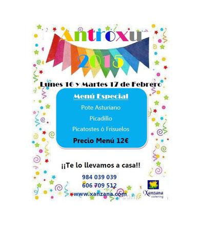 Menú Antroxu 2015