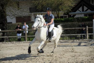 Alex diplômée ATE au galop avec le cheval Bibi