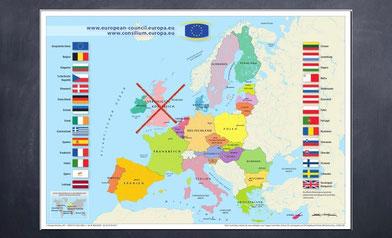 Karte der EU auf Schiefertafel