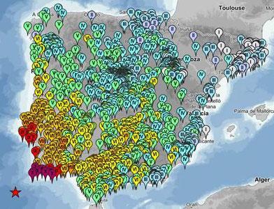 Intensidades del terremoto de Lisboa de 1755